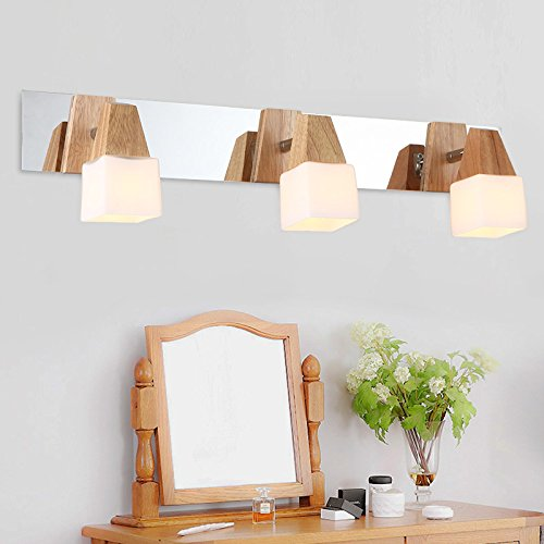 SKTDBG OakLedMirror front light solid wood vanity mirror lamp and bathrooms, wall lights,Head 3