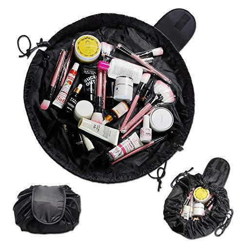 Charmss Mode große Kapazität faul Make-up Kulturbeutel Kordelzug tragbare Reise Make-up Beutel wasserdichte Reisetasche Organizer für Frauen (schwarz).