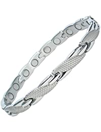MPS® Special Offer Ladies Stainless Steel Magnetic Bracelet with Fold-Over Clasp, Powerful 3,000 gauss Magnets + FREE Links Removal Tool