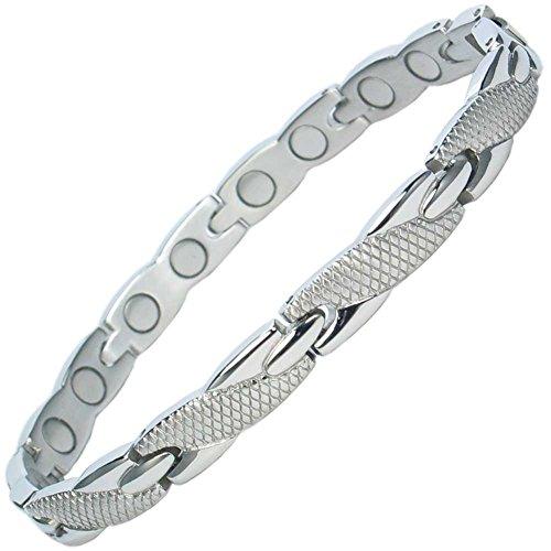 MPS Damen Edelstahl Magnetische Armband, Leistungsstarke 3000 Gauß Magneten, mit gratis geschenk geldbörse