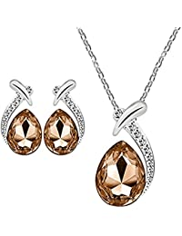 Valentine's Gift Collection LCT Rhodium Plated Winsome Dewdrop Crystal Pendant Set With Chain For Women By Parisha...