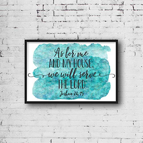 As For Me and My House We Will Serve the Lord Joshua 24:15 Bible Verse Printable Scripture Wall Art Christian Gifts Kids Room decor Wood Pallet Design Wall Art Sign Plaque with Frame wooden sign