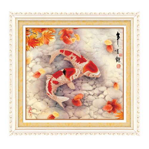 Ikercs 3D Kreuzstich Kit - Pair of Koi fish 3D Stamped Cross Stitch Kit, 28.0inch x 26.4inch (Stitch Koi Cross Fish)
