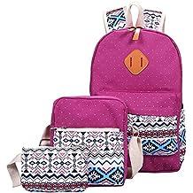 YiLianDa Conjunto de 3 Lindo Las Mochilas bolsas Escolares/Mochila Adolescentes/Mini Bolso/Bolso Crossbody