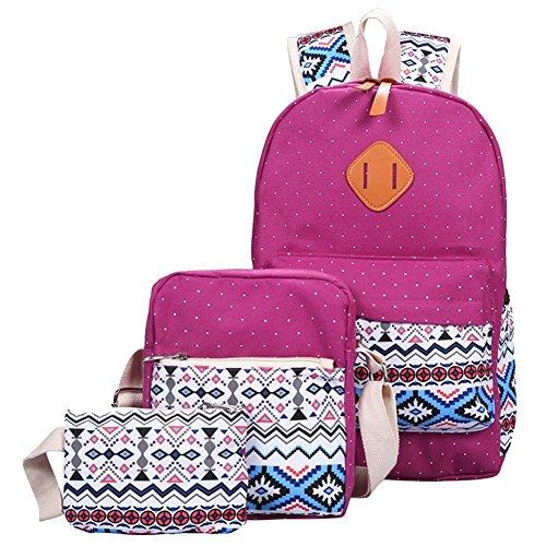 YiLianDa Tela Zaino Scuola Canvas Backpack Casual Ragazza Zaini Vintage Sacchetto di spalla Messenger Borse 3PCS set Viola(Borsa a tracolla)