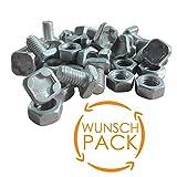 40x Flachkopfschrauben (M6) mit Muttern aus Aluminium für Gewächshaus - Perfektes Gewächshaus Zubehör - Vierkant Schrauben