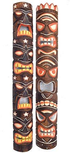 2-Tiki-Mscaras-de-madera-en-el-Tiki-HAWAI-Estilo-in-100cm-Largo-Mscara-de-pared