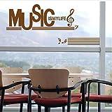 zzlfn3lv Stickers décoration de vitrine Musique Notation Piano Musique Art Salle de Formation Porte en Verre Stickers muraux 1 39x86cm