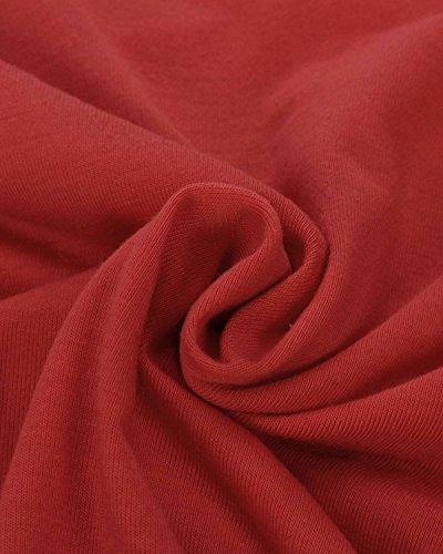 ZANZEA Femmes Sexy Col V Bandage Blouse Manches Longues Casual Slim Fit T-Shirt Hauts Tops Eté Tee Rouge