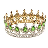 #2: Phenovo King Queen Bridal Crown Rhinestone Tiaras Gold Plated Hair Jewelry Red