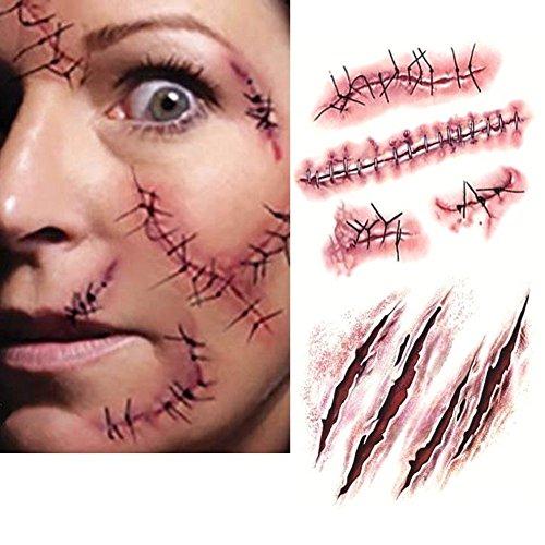 Imixcity 10 Piezas Tatuaje de Las Cicatrices del Zombi de Halloween Tatuajes Pegatinas Sangrientas Herida Temporales Impermeable Tatuajes Terror Vampiro Maquillaje Para Halloween Party Prop y Cosplay (Cicatrices)