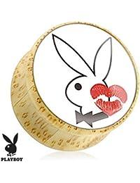 Conejo con Kiss Mark impresión madera sillín enchufe (se vende como un par)