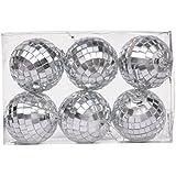 Pragati Pro Christmas Ornaments Hanging Disco Balls (pack Of 6, Dia - 5cm, Mirror Glass)