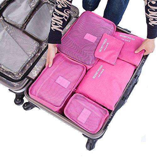 La haute 6cubetti di viaggio organizzatori imballaggio bagagli Organizzatori Compressione Pouch Rosy
