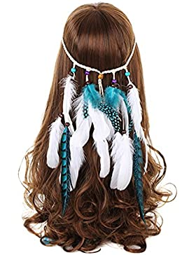 FANHOM Tocado de plumas fruncido tribales Headband Fancy Dress Party Headpieces Hippie accesorios para el cabello