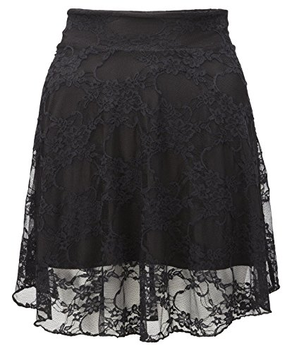 New Ladies Plus Size Floral Lace Skater Skirt Womens Flare Mini Skirt Size 8 -22 (XL (16-18))