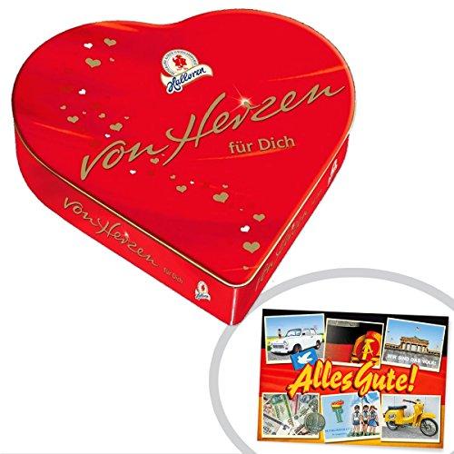 Halloren Kugeln von Herzen   INKL DDR Geschenkkarte   Ostprodukte  Ideal für jedes DDR Geschenkset   DDR Traditionsprodukt und Ossi Kultprodukt   Ossi Artikel