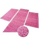 carpet city Teppich Shaggy Hochflor Langflor Einfarbig Pink Öko Tex Bettumrandung 2X 80x150 & 1x 80x300