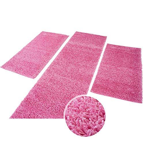 (carpet city Teppich Shaggy Hochflor Langflor Einfarbig Pink Öko Tex Bettumrandung 2X 80x150 & 1x 80x300)