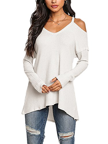 4446e2cd621 YOINS Women Cold Shoulder Baggy Shirt Long Sleeves Knitted Top Shoulder Off  Blouses White UK 20