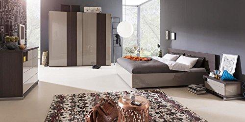 Camera da letto matrimoniale componibile completa color rovere nobile e grigio laccato (con letto king size 180x200 cm)