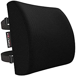 FORTEM Lendenkissen/Lordosestütze gegen Rückenschmerzen für Bürostühle und Autositze - Ergonomisches Rückenkissen aus Memory-Schaumstoff mit waschbarem Bezug und zwei Haltegurten.