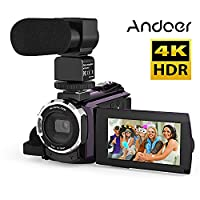 Andoer 4K 1080P Wifi 48mp Master 966603Inches Capacitive Touchscreen IR Infrared Night View 16x Zoom Digital Video Camera Recorder with Novatek Cold Shoe Microphone Holder External