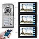 WiFi Video Türsprechanlage, 3 Familienhaus Set, Handy-App, 3x7 Monitor mit Touchscreen, Tür-Öffner-Fkt, Foto-/Video-Speicher, Unterputz Türstation, 92° Kamera,Model: 618MC13