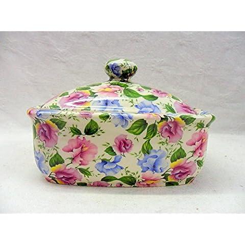 Colore: Rosa e Blu motivi floreali in tessuto chintz