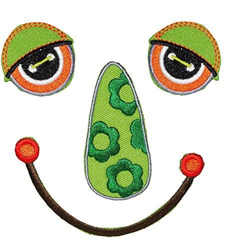 Unbekannt XL Bügelbild -  lustiges Gesicht - lachend / grün  - Aufnäher Applikation - Augen, Nasen & Mund - Tiere - Gesicht - gewebter Flicken - Jungen & Mädchen - Ti..