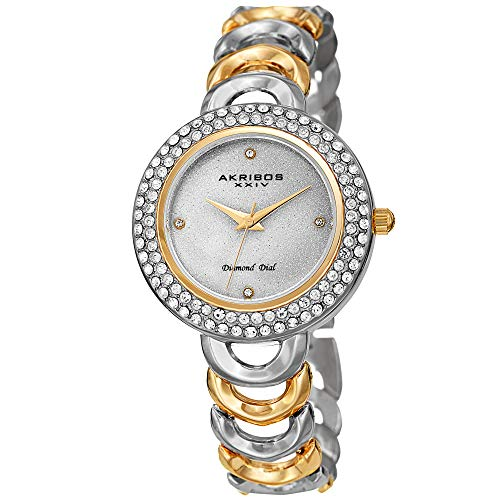 Akribos XXIV Women\'s Watch – Crystal Studded Bezel, Glitter Dial Diamond Markers, Gold and Silver Two Tone Stainless Steel Link Bracelet - AK1050TTG