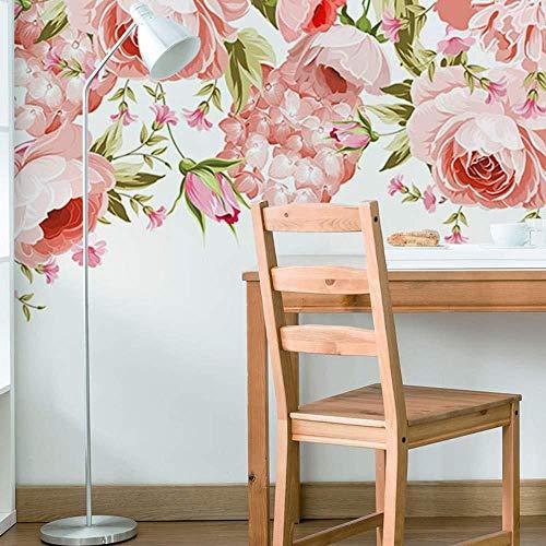 YBHNB The Nordic Simple Romantic Cd-Us Kleine Frische Handgemalte Blumen Hintergrund Tapeten Rosa Aquarellbilder Wallpaper-450X300Cm -