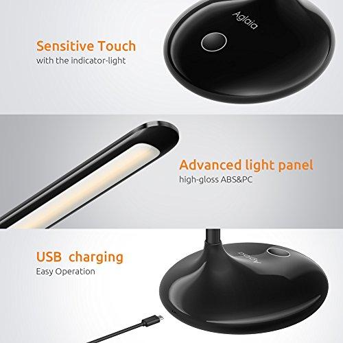 comprare on line Lampada da tavolo a LED 4.5W Lampada da lettura, Aglaia Touch Sensitive Control Dimmerabile Luminosità a 7 livelli Lampade da tavolo per la cura degli occhi, Luci ricaricabili con porta di ricarica USB e collo di cigno pieghevole [Classe energetica A +] prezzo