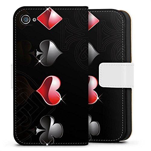 Apple iPhone X Silikon Hülle Case Schutzhülle Herz Kreuz Karo Sideflip Tasche weiß