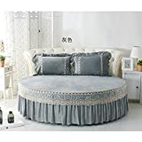 Lace Bett Rock,Plus Samt Cover Atmungsaktiv Runde Stretch Bettlaken-E Durchmesser220cm(87inch)