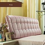 LIQICAI Respaldo Grande Almohada Cuero Artificial Elegante Y Ergonómico Almohada De Cintura Cuello/Atrás/Lumbar Prop Up, 8 Colores, 6 Tamaños Opcionales (Color : Pink, Tamaño : 150 * 12 * 58cm)