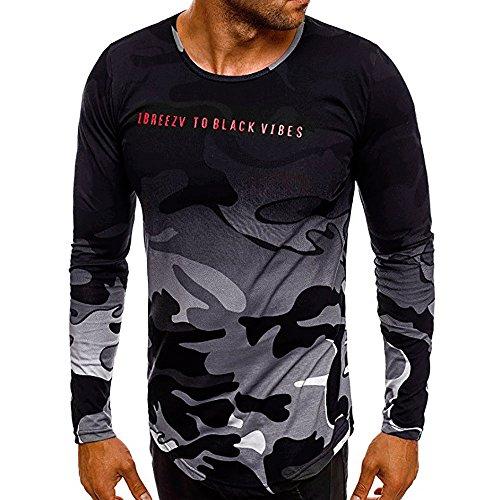 Herren T-Shirts FORH Männer Mode Persönlichkeit Sport Kurzarm Bluse Vintage Camouflage Rundhals Sommer T-Shirt Casual Oversize Kurzarmhemd Weich Lose Tank Top Oberteil (Grau C, L)