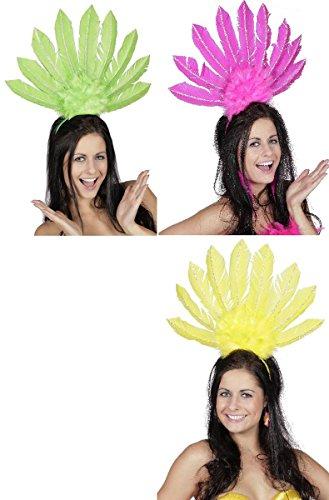 Samba Kopfschmuck Kostüm - Wilbers Kostüm Zubehör Feder Kopfschmuck Samba Karneval pink