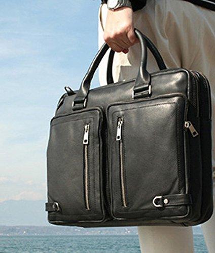 """FERGÉ XL Laptoptasche BETH - Umhängetasche XL fit für 15.4"""""""" mit gepolstertem Gerätefach- Businesstasche - echt Leder schwarz grau"""