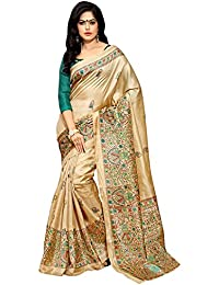 ZPLUESX Women's Cotton Silk Saree With Blouse Piece (White_Bh_Off White)