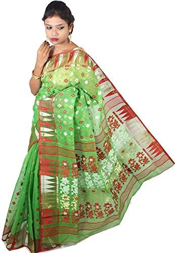 A.R SHOP Handloom Dhakai Jamdani Cotton Silk Tant Saree (Green)