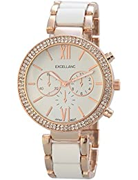 Excellanc  - Reloj de cuarzo para mujer, correa de diversos materiales color oro rosa