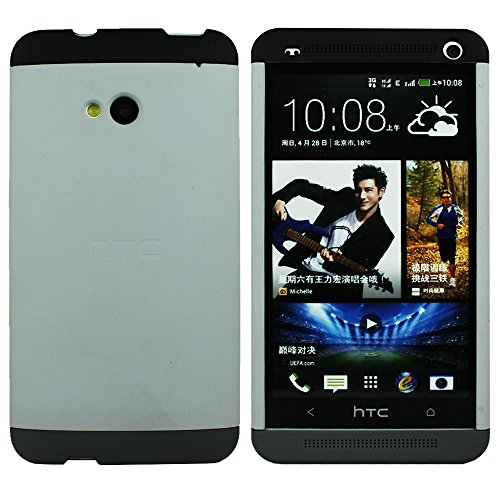 Heartly Double Dip Premium Hard Shell Back Case Cover For HTC One M7 Single Sim- Black White Black  available at amazon for Rs.549