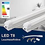 60CM LED Leuchtstoffröhre komplett-Set, Leuchtstofflampe mit G13-Fassung, 10W 4000K Naturweiß 900lm 18Watt-Ersatz, Deckenleuchte Unterbauleuchte Schranklicht, Montagefertig, Aufklebar, milchig