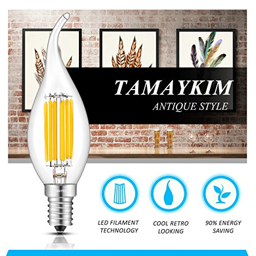 TAMAYKIM C35 6W Dimmbar Glühfaden LED Kerze Lampe, 3000K Warmweiß 600 Lumen, 60W Entspricht Glühlampe, E14 Fassung, Flamme Form, 360° Abstrahlwinkel, 3er-Pack - 2