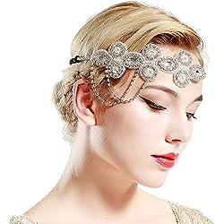 ArtiDeco Vintage 1920s diadema con cuentas de años 20, accesorio para disfraz de Gatsby con cristales