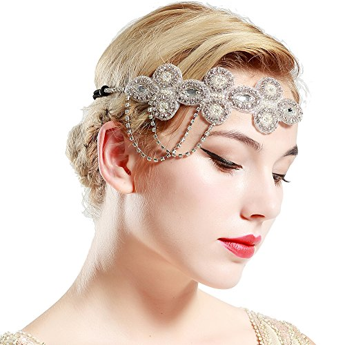 ArtiDeco 1920s Stirnband Flapper Haarband Kristall Stirnband Great Gatsby Halloween Motto Party Accessoires 1920s Flapper Charleston Zubehör (Halloween Stirnbänder)