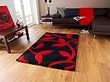 The Rug House Avoca dichter, rot und schwarzer, hoher, moderner Teppich mit floralen Konturen 7647 – 160cm x 220cm (5'3