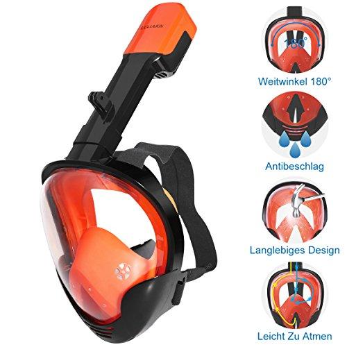 Lululion Tauchmaske Müheloses Atmen Vollgesichtsmaske Anti-Leck Antibeschlag 180 ° Sichtfeld Schnorchelmaske mit Verstellbaren Trägern (Tauchausrüstung Maske, Schnorchel)