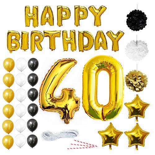 40 Geburtstag Dekoration - 40. Geburtstag Luftballons - Happy Birthday Banner Helium Party Luftballons Zum Hochzeitstag Party Deko - Frauen Männer (40 jahre) Gold Weiße Schwarze Latex Foilen